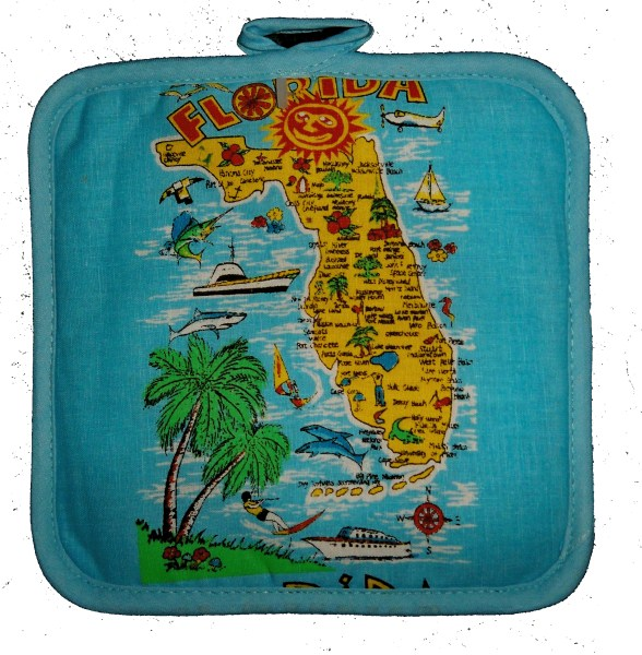 Florida Souvenir Map Potholder-florida souvenir soovenir suveneir souveneir pot holder potholder