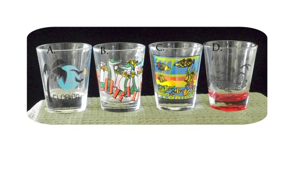 Florida Souvenir & Gator Shot Glasses-florida souvenir souvenier shot glasses gator alligator palm tree beach