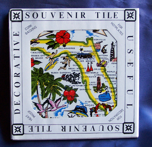 Vintage Florida Souvenir Map Tile-vintage florida souvenir hot plate map tile