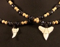 Shark Tooth with Wood and Black Beads