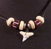 Shark Tooth with Red Beads on Black