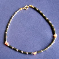 Hematite & Coral Anklet