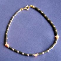 Hematite & Coral Anklet