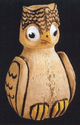 Coconut Owl-coconut tiki head carved bank owl bird