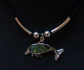 Paua Shell Dolphin Necklace