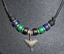 Fossil Shark Tooth Necklace with green and black beads