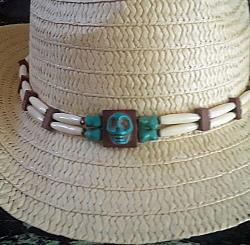 Handcrafted Genuine Turquoise Beaded Western Style Hatband with Skull