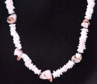 Puka Chip & Pink Spiral Necklace-