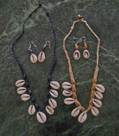Cowrie Shell & Wood Bead Necklace & Earring Set-cowries cowry earrings necklaces beads silver