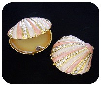 FloraLinda Orange Blossom Perfume Jewelled Shell Compact-orange,blossom,perfume,florida,souvenir,gift