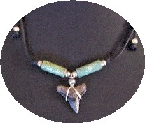 Fossil Shark Tooth Necklace with Asian Turquoise
