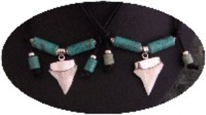 Shark Tooth Necklace with Turquoise & Silver-