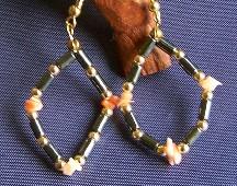 Hematite & Coral Earrings