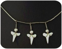 Shark Tooth Necklace with Silver, Freshwater Pearl and Three Shark Teeth