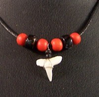 Shark Tooth with Bright Red Beads on Black