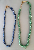 Green and Blue Chip Choker Necklaces